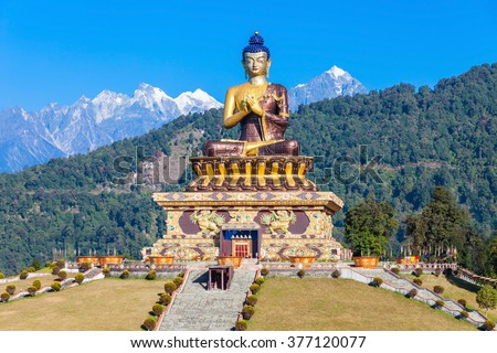Gautama Buddha statue in the Buddha Park of Ravangla in South Sikkim, India - stock photo