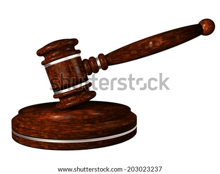 Gavel. Auction hammer. Wooden gavel on a stand. 3d illustration.  - stock photo