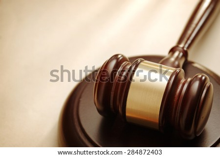 Gavel close up. Conceptual image of law and justice. - stock photo