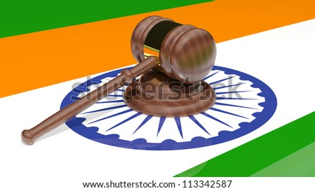 Gavel on the flag of India - stock photo