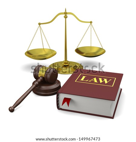 Gavel, scale and law book, isolated on white background, symbols of law and justice - stock photo