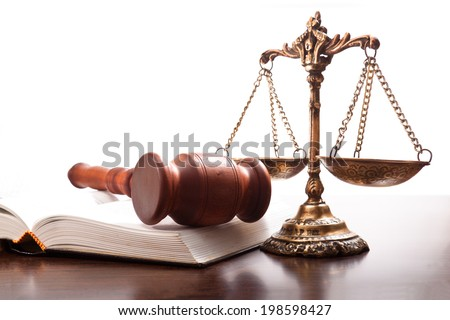 Gavel, scales and book on the table justice - stock photo