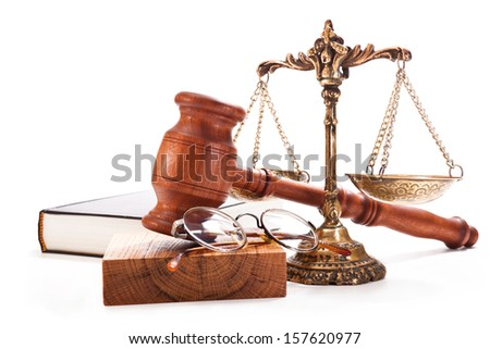 Gavel, scales, book and glasses on a white background - stock photo