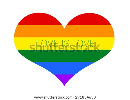 Gay and LGBT rainbow flag heart, culture symbol. love is love. isolated on white - stock photo