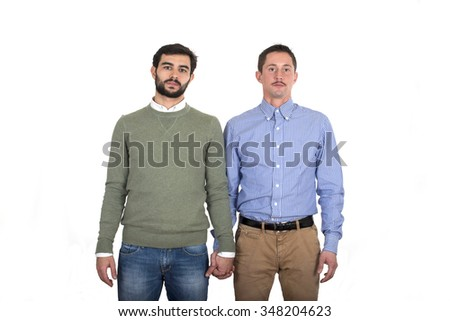Gay couple holding hands - stock photo