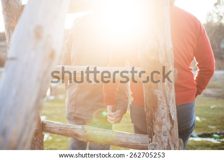 Gay couple in the park - stock photo
