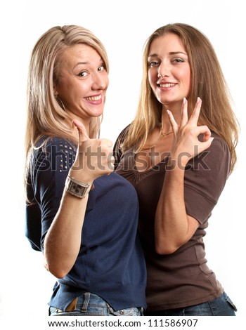 Gay couple, two women looking on camera against white background - stock photo