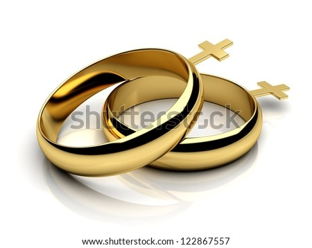 Gay female wedding rings  on a white reflective isolated background. 3D render. - stock photo