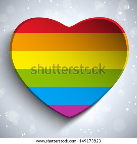 Gay Flag Heart Striped Sticker - stock photo