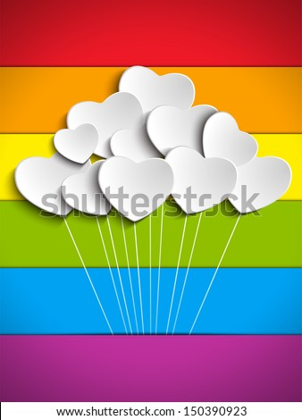 Gay Flag Hearts Balloons Background - stock photo