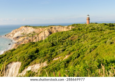 Gay Head in Martha's Vineyard, Massachusetts. - stock photo