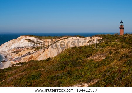 Gay Head lighthouse, also referred to as Aquinnah lighthouse, lies within community of Wampanoag Native Americans on Martha's Vineyard Island, in Massachusetts. - stock photo