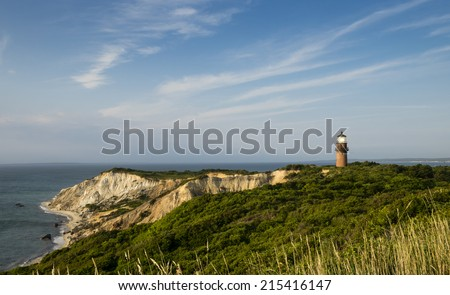 Gay Head Lighthouse and cliffs, Martha's Vineyard - stock photo