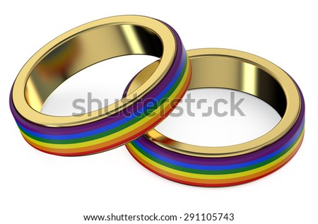 Gay Marriage Concept with Rainbow Rings - stock photo