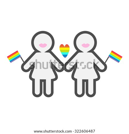 Gay marriage Pride symbol Two contour women with lips and  flags LGBT icon Rainbow heart Flat design - stock photo
