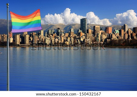 Gay pride flag in beautiful city of Vancouver, Canada. - stock photo