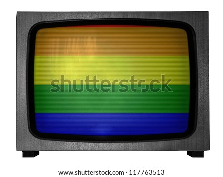 Gay pride flag painted on old TV - stock photo