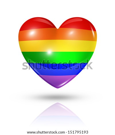 Gay pride love symbol. 3D rainbow heart flag icon isolated on white with clipping path - stock photo