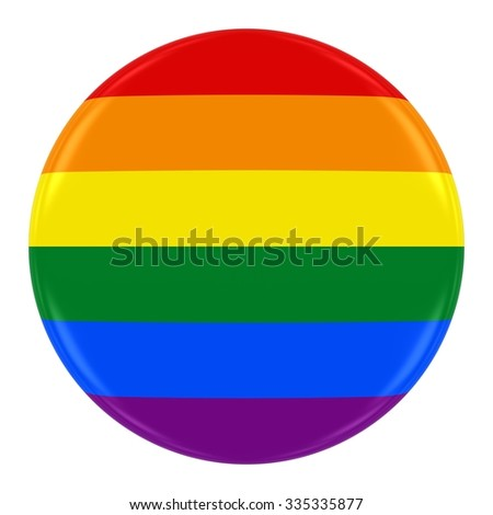 Gay Pride Rainbow Flag Badge - Flag of Gay Pride Button Isolated on White - stock photo