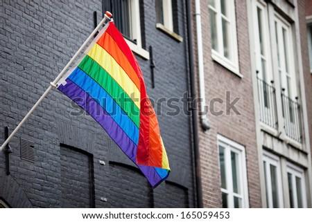 Gay rainbow flag  - stock photo