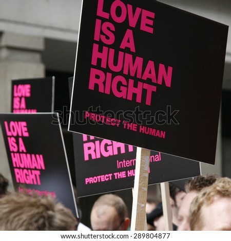 Gay Rights card in London Pride Parade - stock photo