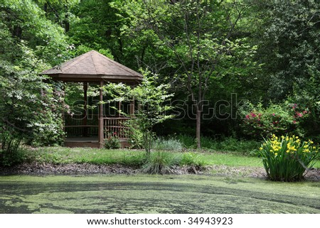 Gazebo and pond located in Hunterdon County Arboretum, a public community park in Lebanon, New Jersey - stock photo