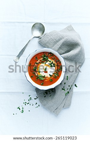 Gazpacho soup with cream cheese and fresh parsley - stock photo