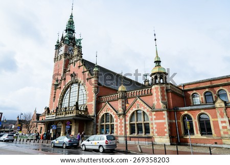 GDANSK, POLAND - APRIL 5, 2015: Main railroad station of Gdansk, historic building built in the end of XIX century - stock photo