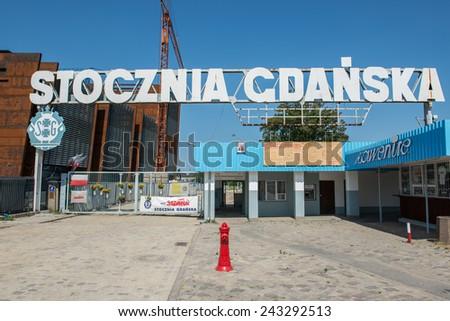 GDANSK, POLAND - JULY 25: Famous gate no. 2 of Gdansk Shipyard on July 25, 2014 in Gdansk - stock photo