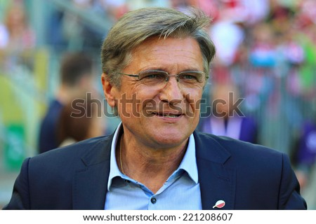 GDANSK, POLAND - JUNE 6, 2014: Adam Nawalka, manager of Poland national football team before the friendly football match between Poland and Lithuania. Final result: 2:1 - stock photo