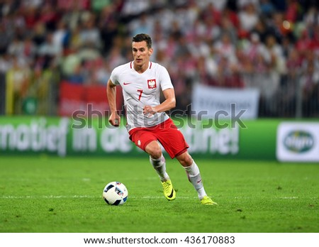 GDANSK, POLAND - JUNE 01, 2015: EURO 2016 European International Friendly Game Poland - Netherland o/p Arkadiusz Milik  - stock photo
