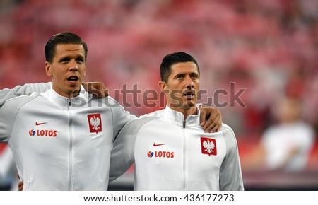 GDANSK, POLAND - JUNE 01, 2015: EURO 2016 European International Friendly Game Poland - Netherland o/p Wojciech Szczesny Robert Lewandowski  - stock photo