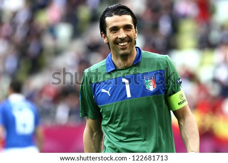 GDANSK,POLAND-JUNE 10,2012:Gianluigi Buffon during the game between Italy and Spain for Euro 2012 in Gdansk Arena on 10th June 2012 - stock photo