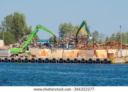 Gdansk. Sorting of scrap metal. - stock photo