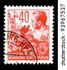 """GDR - CIRCA 1953: A stamp printed in GDR (German Democratic Republic - East Germany) shows a Chemist, chemical plant w/o inscription, from the series """"Workers For The Five-year Plan"""", circa 1953 - stock photo"""