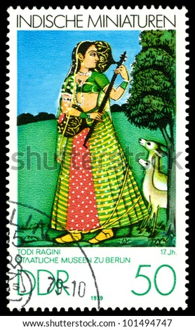 GDR - CIRCA 1979:  A stamp printed in GDR  shows Indian Miniatures, Todi Ragini 17th cent , Berlin Museum,  series, circa 1979. - stock photo