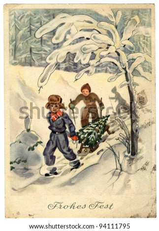 GDR  - CIRCA 1954: Retro postcard printed in the East Germany (GDR) shows two boys on sled driven by Christmas tree, circa 1954. Text in German: be happy - stock photo