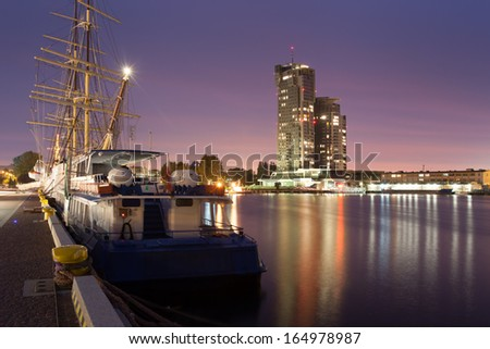 Gdynia harbor overlooking the sea towers - stock photo