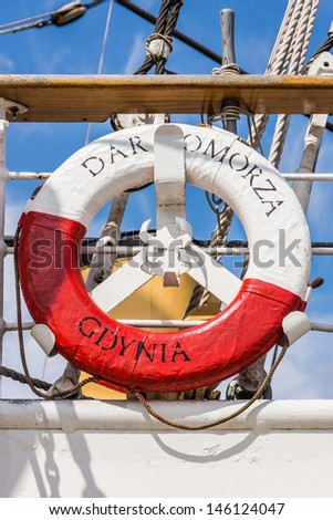 GDYNIA, POLAND - JULY 10: The Dar Pomorza (Gift of the Pomerania) sailing frigate on July 10, 2013. Built in 1909, served as a training vessel for the Polish Naval Academy, preserved  as a museum ship - stock photo