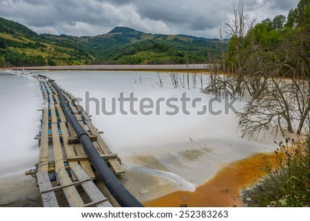 Geamana lake, toxic waste from the operation of cyanide - stock photo