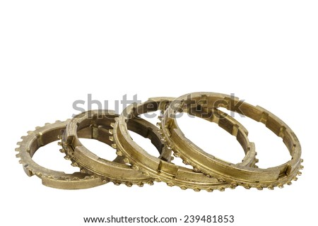 Gear box elements, worn out synchronizer rings - stock photo