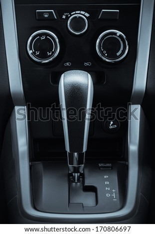 gear box in new car interiors - stock photo
