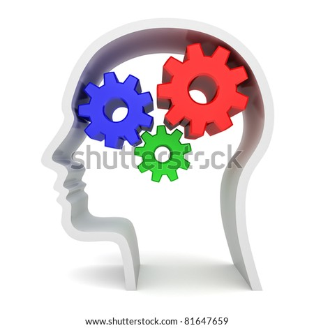 Gear Brain Head - stock photo