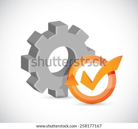 gear check mark cycle illustration design over white - stock photo