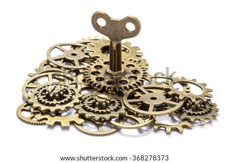 gear heart with key on white - stock photo