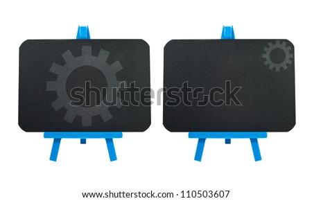 Gear icon on blank blackboard background - stock photo