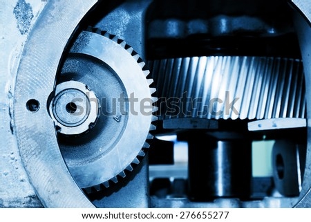 Gear machine elements close-up. Industry, industrial concept. - stock photo