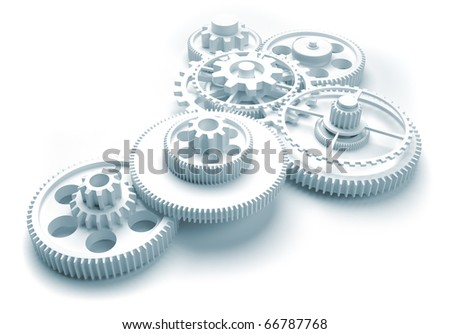 Gear mechanism - this is a 3d render illustration - stock photo