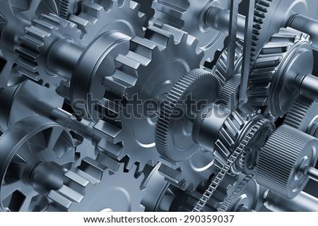 Gear metal wheels close-up. Industrial mechanism - stock photo