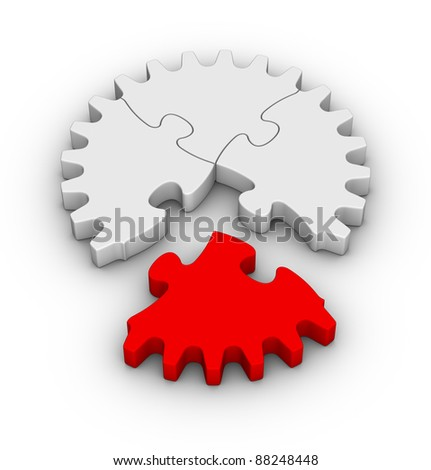 gear of jigsaw puzzles with one red piece - stock photo
